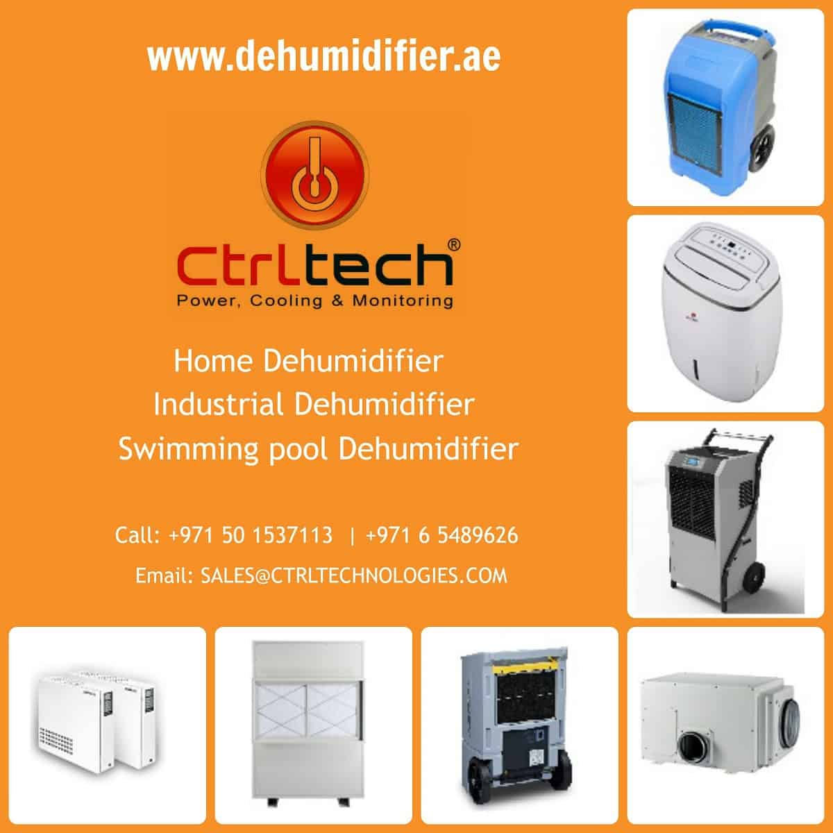Dehumidifier range offered by CtrlTech Dehumidifiers in UAE for Dehumidificatioin.